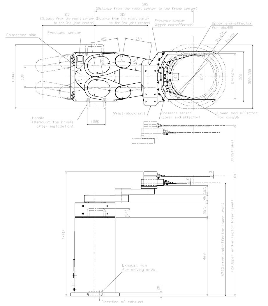 采用气缸驱动机构夹持框架外边缘 机械结构格式 圆柱坐标 控制轴 4轴